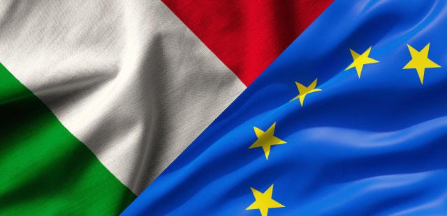 COPPIA BANDIERE ITALIA - EUROPA